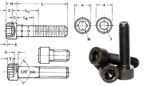 Grade 4.8 Steel Socket Head Cap Screw Dimensions