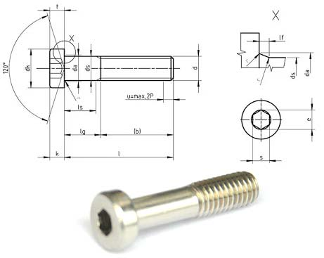 Stainless Steel 316L Self Tapping Screw sizes in mm