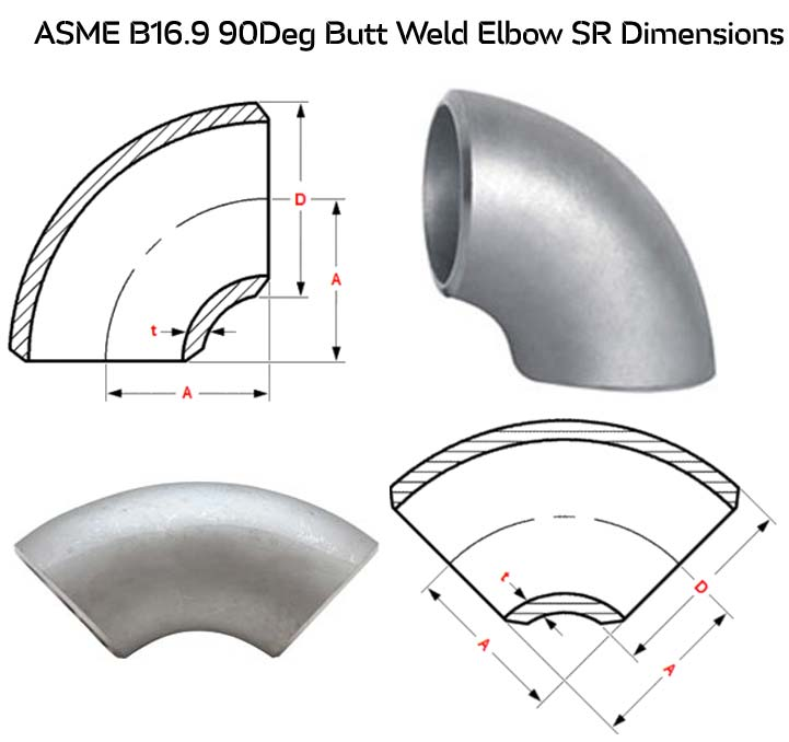 SS 304 Butt Weld Elbow Dimensions